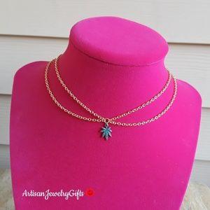 16K Gold Layered Weed Leaf Choker Stoner Necklace